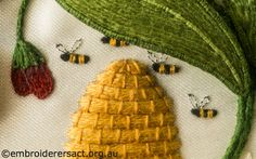 Hive and Bees from Jane Nicholas Mirror 2 stitched by Lorna Loveland