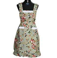 Hyzrz Lovely Green Lady's Beauful Kitchen Peony Flower Women's Apron with Pockets for Lady Girls