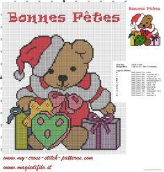 grille de point de croix ours en peluche de Noël et de joyeuses fêtes écrites