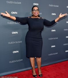 Ta-dah! Oprah Winfrey showcased her shrinking 5ft7in figure on the red carpet of the Queen Sugar premiere in Burbank on Monday