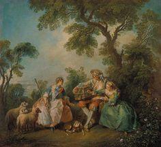 Nicolas Lancret: Der Vogelkäfig. (Les Amours du Bocage). Um 1735.