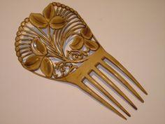 Victorian Celluloid Art Nouveau Botanical Design Hair Comb