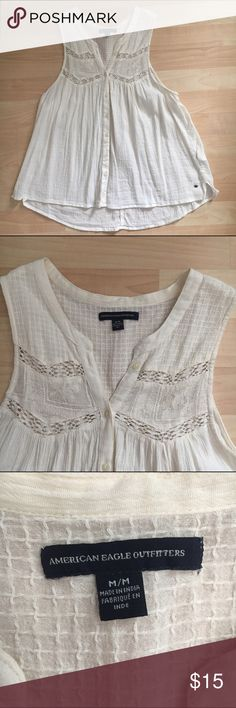 American Eagle Sleeveless Top Brand new without tags, sleeveless, button up blouse. Lace/fabric designs on top American Eagle Outfitters Tops