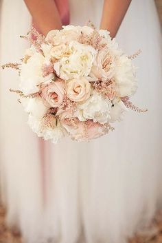 pale pink and whote bridal wedding bouquet | 18 Glamorous Blush Wedding Bouquets That Inspire ❤ See more: http://www.weddingforward.com/blush-wedding-bouquets/