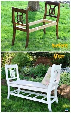 Pallets Outdoor Furniture DIY Broken Chair Garden Bench Instructions - Outdoor Garden Bench Ideas - DIY Outdoor Garden Bench Ideas Free Plans Instructions: bench with arbor, the bench around tree, the bench from old chairs, bench from cinder blocks Diy Garden Furniture, Repurposed Furniture, Furniture Projects, Furniture Makeover, Outdoor Furniture, Pallet Projects, Furniture Dolly, Furniture Layout, Rustic Furniture