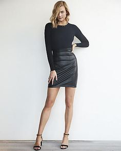 64a613144 WORK IT KARLS // Karlie Kloss x EXPRESS Leather Mini Skirts, Most Beautiful  Models