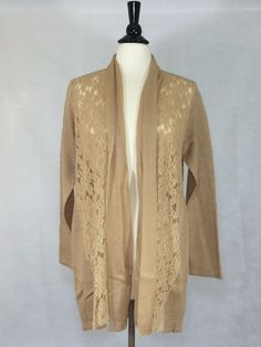 CHICO'S NEW $119 Luxe Lace Harriet Cardigan 2 = 12/14 CAMEL Womens Top NWT  #Chicos #Cardigan #Career