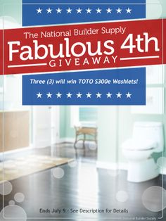 We're giving away THREE TOTO S300e Washlets (an $1,000 value each)! Giveaway ends July 9th. Good luck!  http://sdqk.me/Een5sBDh