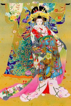 (Japan) Geisha by Haruyo Morita ). Spring has sprung with this riot of colors represented here. Art And Illustration, Illustrations Posters, Botanical Illustration, Art Geisha, Geisha Kunst, Japanese Painting, Chinese Painting, Chinese Art, Art Chinois