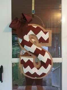 Chevron burlap door hanger by NikkiDsCreations on Etsy, $28.00