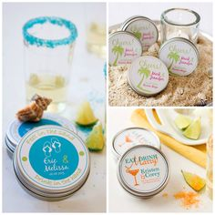 Personalized Margarita Salt Wedding Favors | Dell Cove Spice Co. - Our personalized margarita salt wedding favors are always well-received at destination weddings, anniversaries, or as shower gifts. Each favor comes with a 3 oz tin of our all-natural colored margarita salt, a personalized margarita recipe card and a custom two-color favor label for the tin. This unique wedding favor fits easily into welcome bags, too!  Each recyclable tin is 2.8 inches wide and .875 inches high, and holds…