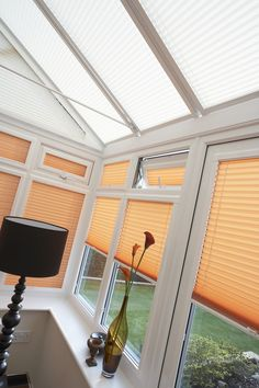 These orange perfect fit blinds brighten up this conservatory whilst adding a little autumnal colour. Perfect Fit Blinds, Fitted Blinds, Best Blinds, Conservatory Ideas, Orange Interior, Window Styles, Conservatories, Roller Blinds, Blinds For Windows