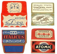 vintage razor blade wrappers