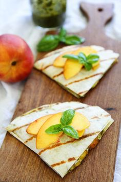 Grilled Peach, Pesto, and Mozzarella Quesadillas