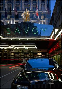 The Savoy Hotel - the Art Deco Court Side entrance (pictured) has traffic driving on the right, permissible by an act of parliament. Monet stayed here and painted many studies of Westminster Palace from nearby bridges & the balcony of his suite. WC2, Charing Cross Tube.