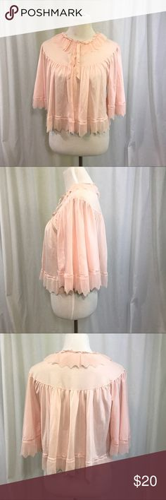 Vintage Accordion Pleated Pink Bed Jacket Rare Evette bed jacket. Snaps at the neck. Pink Chiffon Pleated neck and angel sleeves. Modcloth Intimates & Sleepwear Robes