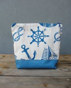 Nautical Clutch with Leather, Digital Print Sailboats, Anchor Sailor Pouch
