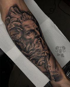 Chicanas Tattoo, Zeus Tattoo, Poseidon Tattoo, God Tattoos, Norse Tattoo, Life Tattoos, Forearm Band Tattoos, Forarm Tattoos, Half Sleeve Tattoos Designs