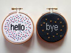 Hello and Bye - Cross Stitch Art via Etsy