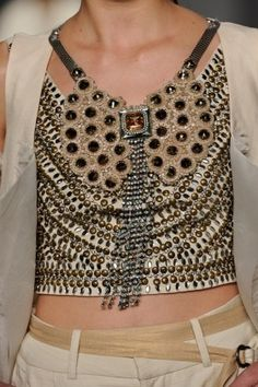 Italian fashion, leather vest with stones
