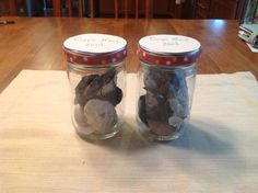 Shell jars.  Wondering what to do with the shells your children gather at the beach?  Reuse jelly jars to make keepsakes.  I hot glued ribbon around the lid edges and make labels on top with our destination and date.  The jars I used were grilling sauce jars from American spoon, but any jar will work as long as you can fit your shells inside.