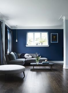 If you're wondering what color to use to colorize your living room, you might want to consider navy. Check these navy living room ideas for your reference! Navy Living Rooms, Blue Rooms, Living Room Paint, Living Room Decor, Bedroom Decor, Blue Living Room Walls, Bedroom Wall Colors, Room Colors, Interior Design Living Room