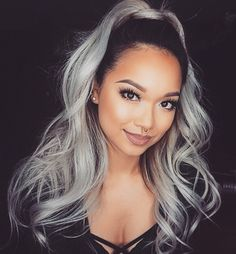 grey hair, platinum hair, black girl, black women, hairstyle, cute, colorful hair