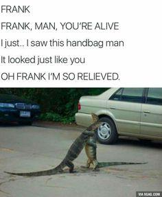 Thank god Frank! Funny Video Memes, Crazy Funny Memes, Really Funny Memes, Stupid Funny Memes, Funny Relatable Memes, Haha Funny, Hilarious, Funny Stuff, Funny Animal Jokes