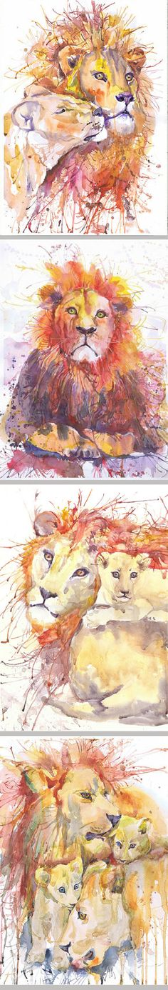 Lion and lioness watercolor painting wall decor african by ValrArt