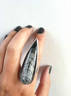 it would be really cool if it were a building (architectural)  Orthoceras Dagger Sterling Silver Ring