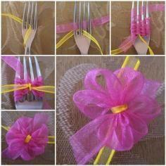 DIY Tutorial DIY BOW / DIY Satin Ribbon Bow with a Fork - Bead&Cord