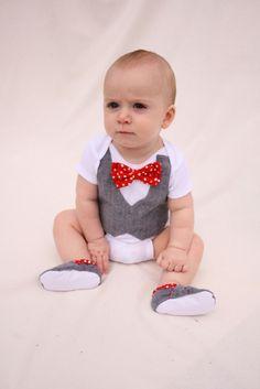 Baby boy shirt, bow tie shirt, Baby boy photo prop, Red bow tie. $34.99, via Etsy.