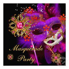 Masquerade Ball    Masquerade Ball Party Purple Pink Black Masks Invitations   Zazzle.co ...