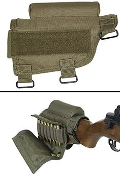 Hunting- Ultimate Arms Gear Rifle Ammo Round Shot Shell Cartridge Hunting Stock Buttstock Cheek Rest Carrier Case Holder Fits .308 300 Winmag Remington 700 770 M24, Coyote Tan ** Read more at the image link.