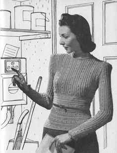 Vintage 1942 Knitting Pattern Ladies Jersey Jumper - digital file