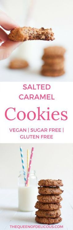 Vegan salted caramel cookies are also gluten and refined sugar free. Who wouldn't love salted caramel? Who wouldn't love cookies? Sugar Free Biscuits, Sugar Free Cookies, Sugar Free Desserts, Vegan Biscuits, Healthy Vegan Desserts, Vegan Dessert Recipes, Vegan Sweets, Healthier Desserts, Healthy Snacks