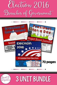 Need ideas for teaching your students about the election? Your students can learn about the branches of government and the election process. And, they can be president for a day. Fun for upper elementary students; $