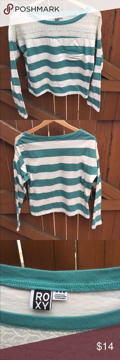 Lace top striped tee Teal and white lace-top tee by Roxy. Small mark near neckline, barely noticeable. Accepting offers! Roxy Tops Tees - Long Sleeve