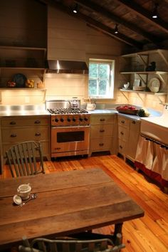 Kitchen in Restored, East Texas, Log Home - See more at: http://chambersarchitects.com/smith-county-dogtrot.html#sthash.HBZRxlm7.dpuf And take a look at all of our preservation and remodeling projects at: http://chambersarchitects.com/portfolio-residential-architect/preservation-a-remodeling.html
