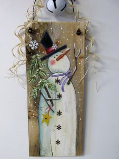 Reclaimed Barn Wood with Hand Painted Snowman Winter Scene Christmas Wood, Christmas Signs, Christmas Projects, Christmas Decorations, Christmas Ornaments, Whimsical Christmas, Snowman Crafts, Holiday Crafts, Tole Painting Patterns
