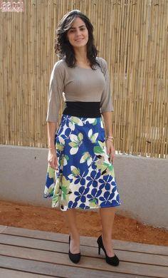 Stunning Blue Floral 3/4 Modest Dress