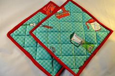 Pot Holders/Pair/Quilted/Mats by LunaBearCelebrations on Etsy