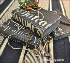 upcycling old hardcover books using chalk paint decorative paint, chalk paint, crafts, painting, The end result Three coordinating books to be tied together with twine plus old keys