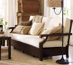 wooden couch frame outdoor   PB Futon Sofa – Living Room Sofa Design by Pottery Barn   Homey ...