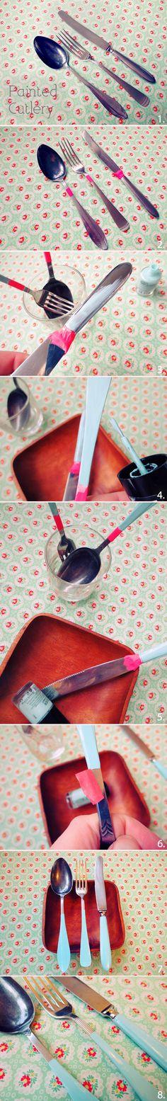 Dale color a tus cubiertos con pintura de uñas #DIY