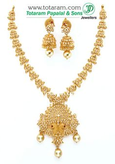 22K Gold 'Peacock' Necklace & Drop Earrings Set with Uncut Diamonds & South Sea Pearls - DS530 - Indian Jewelry from Totaram Jewelers