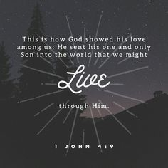 """Verse a Day Tree of Life Bible 1 John """"The love of God was revealed among us by this—that God sent His one and only Son into the world so that we might live through Him."""" Tree Of Life Bible King James Version Jackie Nelson Carter How He Loves Us, God Loves Me, Jesus Loves, 1 John 4 9, 1st John, Bible Verses About Love, Jesus Freak, Bible Verses Quotes, Bible Scriptures"""