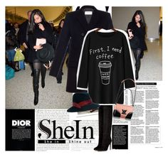 """""""Selena Gomez in shein.com"""" by polyandrea ❤ liked on Polyvore featuring Christian Dior, Oris, Stop Staring!, Yves Saint Laurent, Balmain and Eugenia Kim"""