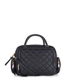 Black Quilted Bowler Bag | New Look