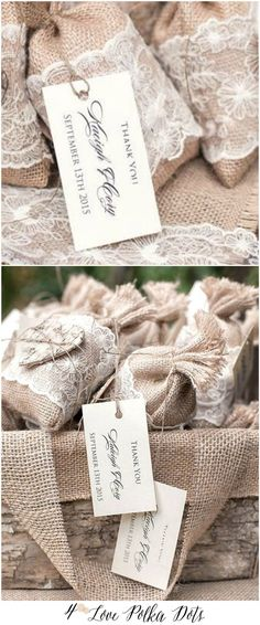 Burlap Lace Wedding Favor bags with thank you tag #thankyou #favorbags #rustic #eco #weddinggift #burlap #lace